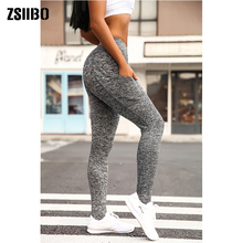 Stretch-Pants Leggins Pocket Control Fitness Workout Tummy High-Waist Womens with Slim