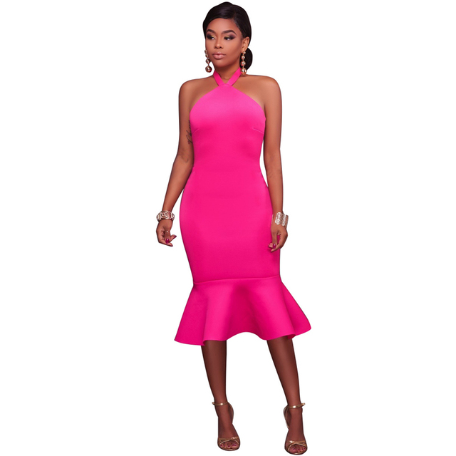 0c8da3365458 Yellow/Rosy/Black Sexy Woman Off Shoulder Halter Neck Ruffles Details Night  Out Party Wear Backless Midi Bodycon Dress Online