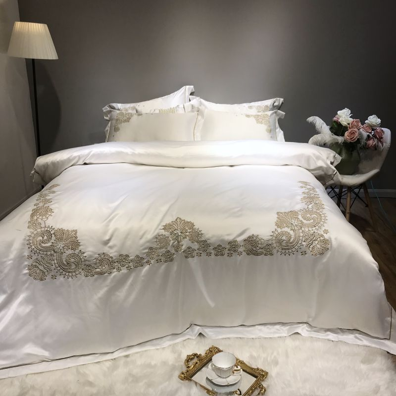 Embroidery Silver Brown White Bedding Set Queen King Size Cotton Bed Sheets Linen Set Embroidery Bed Set Duvet Cover Pillowcase