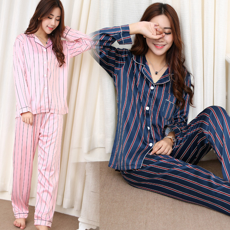 2019 New Summer Autumn Womens Pajama Sets V-Neck Stripe Long Sleeve Women Sleepwear Woman Pajamas Nightgown(China)