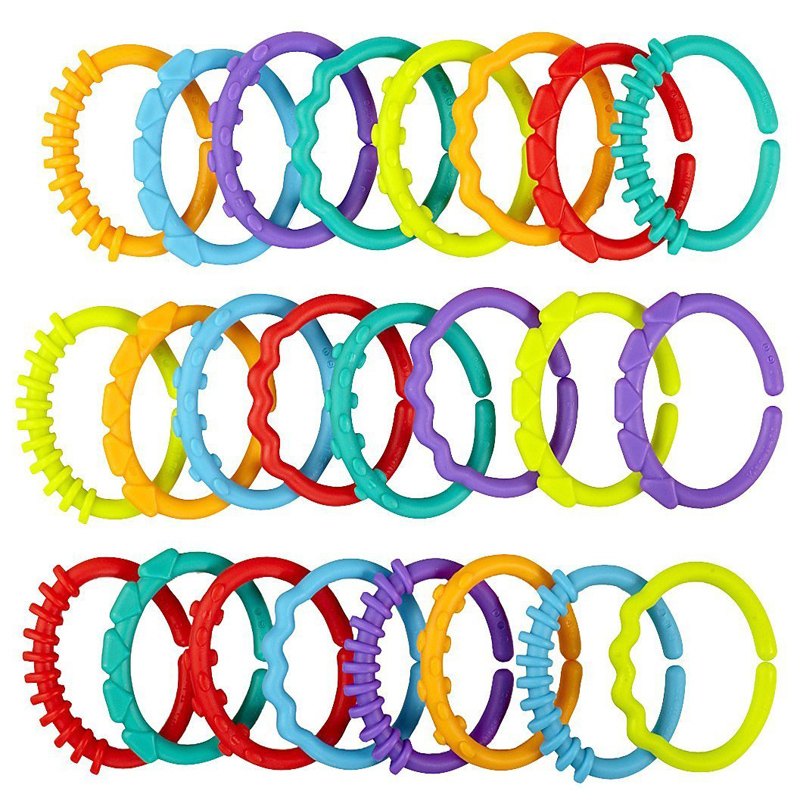 JJOVCE Baby Toys Rainbow Kids Teether Dolls Chain Clutch Ring Toy Links Holder For Hanging On Cirb Playpen Stroller 0-12 Months