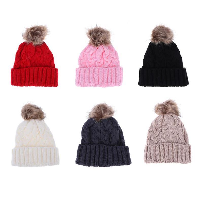 2017 Winter Baby Boy Girl Cap Thick Elastic Knit Crochet Hats with Fur Ball Skull Caps Wool Fur Ball Pompom Beanies Hat