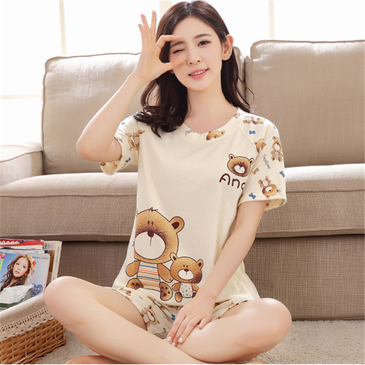 Manufacturers Wholesale 2018 Summer Ladies Short-sleeved Shorts Pajamas Cartoon Suit Girls Students Casual Sweet Home Service