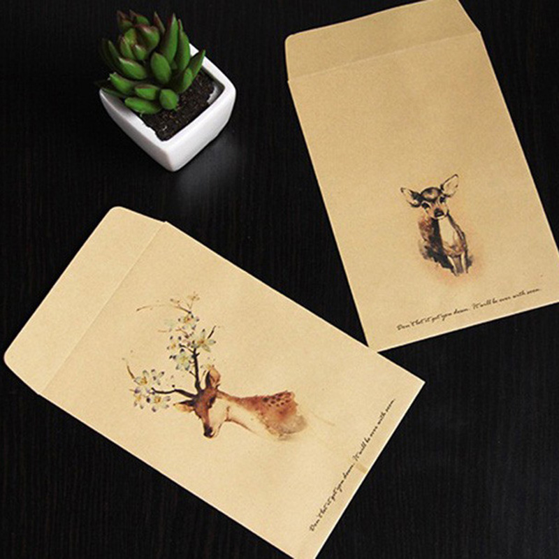 5pcs Deer Painted Kraft Paper Bag Envelopes Candy Cookies Packing Bags Chinese Traditional Painting Christmas Party Gift Bag