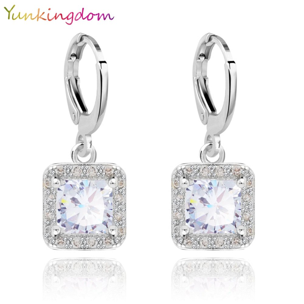 Yunkingdom 5 Colors New Hot Sale Gold Color Zircon Gem Big Brand earrings Small Dangler for Women Fashion Jewelry