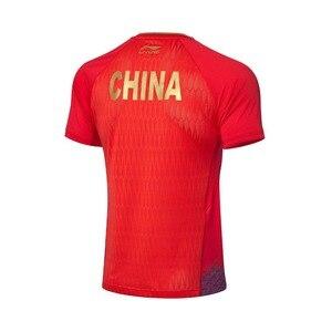 Image 2 - Li ning hombres de la serie de tenis de mesa traje de competición Equipo Nacional Sponsor en seco transpirable forro deportes camisetas AAYP081 CAMJ19