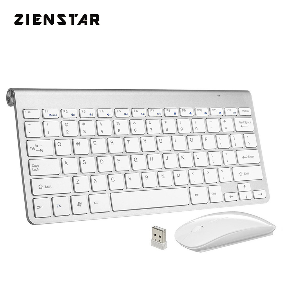 Zienstar Ultra Thin 2.4G fără fir tastatură Combo mouse-ul cu receptor USB pentru Macbook, computer PC, laptop, TV BOX și Smart TV
