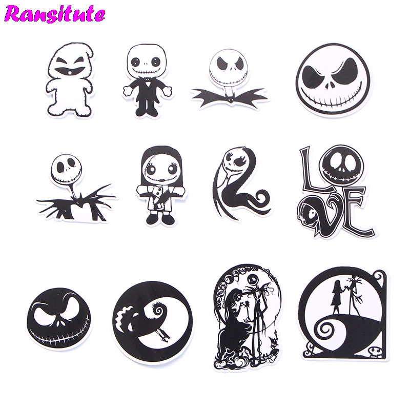 12pcs/set The Nightmare Before Christmas Sticker Motorcycle And Suitcase Cool Laptop Sticker Skateboard Sticker