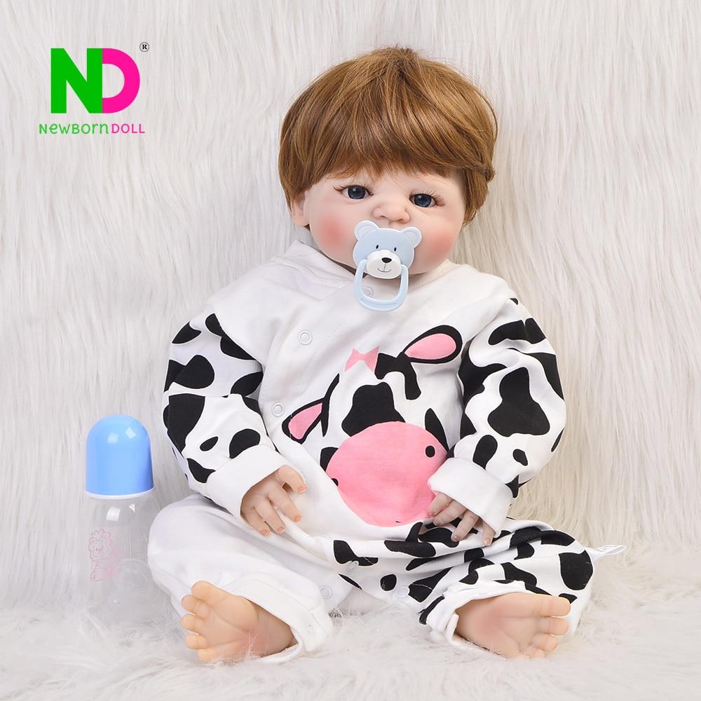 Newborn Doll 23'' Realistic Bebe Reborn Dolls Full Silicone Vinyl Baby Toy Boy Birthday Gifts Wholesale Born Bonecas Cosplay Cow цена
