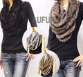 Women Scarf with Real Rabbit Fur Scarves Acrylic Knitted Wrap Fashion Neckerchief Winter Neck Warmer AU00760