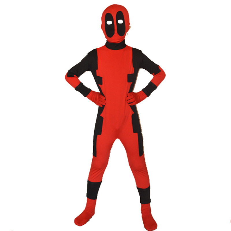 Cool KIds Deadpool Costumes Red full body spandex Boys Movie Deadpool Cosplay mask Costumes halloween deadpool costume For Child cool screaming mask w tongue white black red