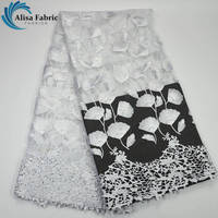 High Quality White French Tulle Lace Fabric Fashion Water Soluble French Lace Fabric Embroidered with Beads for Party dress