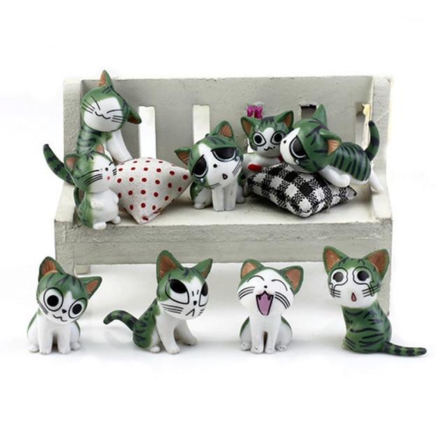 9pcs Cheese cat miniature Figurine fairy garden ornaments cartoon animal statue Christmas love gift resin craft toy