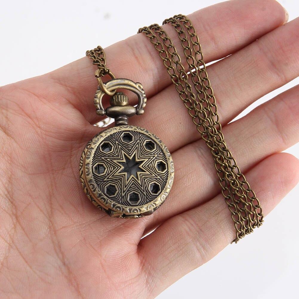 Vintage moda cep saati bronz renk Quartz saat zinciri paslanmaz içi boş Pentagram saatler kolye hediye cep saati