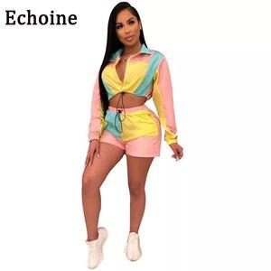Echoine الملونة خليط مثير اثنين من قطعة وتتسابق للنساء طويل الأكمام قمم + قصيرة مع سستة السراويل إمرأة طقم رياضي