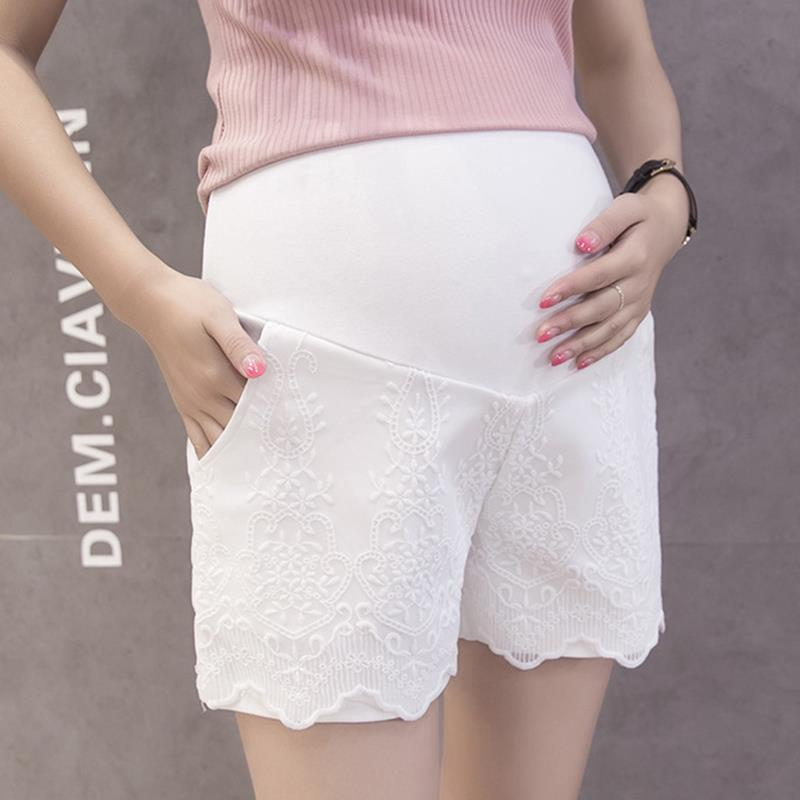 Summer Fashion Maternity Elastic Waist Belly Splice Lace Shorts For Pregnant Women Hot Pregnancy Casual Bottoms WS7775A