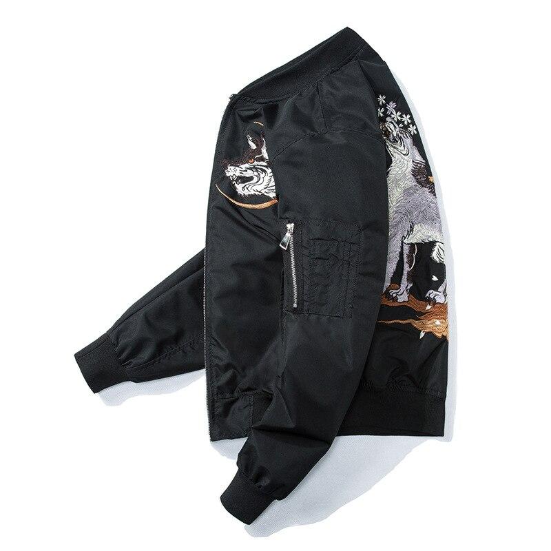 Noir Casual Baseball Aelfric Veste Streetwear Lq22 Harajuku Ma Hommes Vestes Mode Loup Broderie Bomber Eden De Manteaux 2018 1 Automne 6gwxqHr6Z