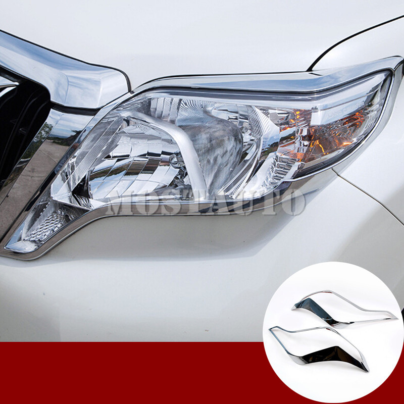 ABS Chrome Head Light Lamp Switch Cover Trim For Toyota LC Prado FJ150 2010-2017
