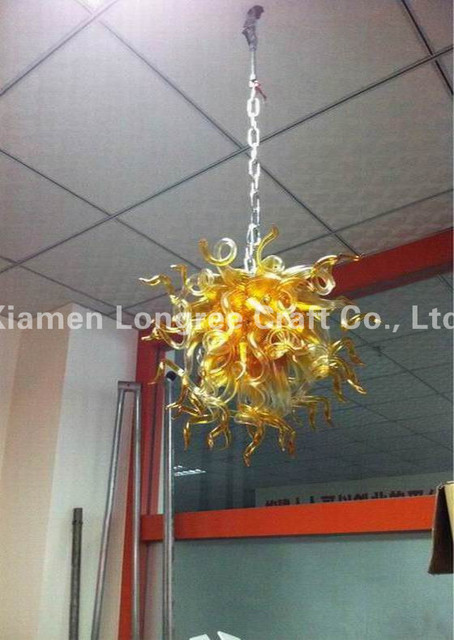 Hand N Coloured Gl Mini Led Hanging Chandelier With Long Chain