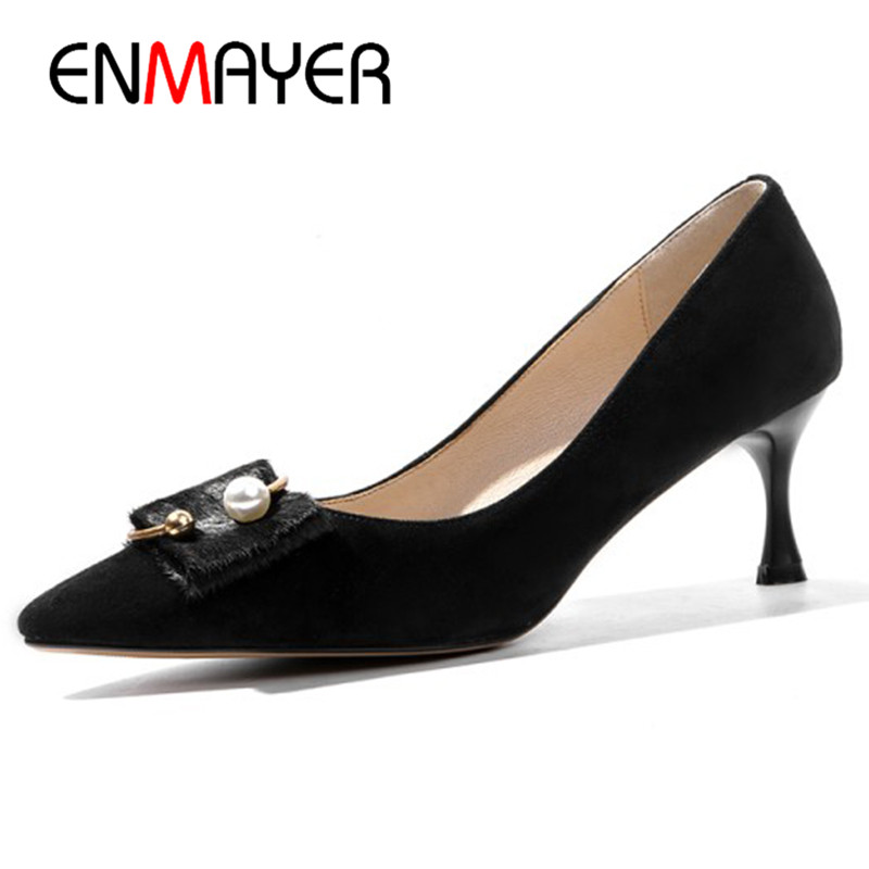 ENMAYER Pointed Toe Pumps Shoes Woman High Heels Shoes in Womens Classic Black Shoes Size 34-40 Sheepskin Leather Pumps the new puma womens shoes classic high classic star high tongue series white leather laser badminton shoes