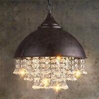 Modern Crystal Chandeliers American Industrial Chandelier Lights Fixture Retro Vintage Hanging Lamp Cafes Home Indoor Lighting