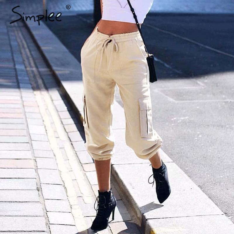 Simplee Elastic waist harem   pants   Women casual pockets punk cargo trousers   pants   Streetwear   capris   loose harakuju ladies   pants
