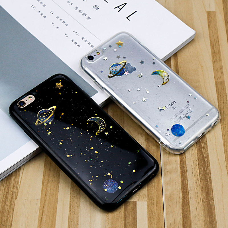 For iphone 6 Cases Glitter Bling For iphone 7 6 6S 8 Plus X Cases Moon Space Star Planet Back Cover Shining Powder Coque fundas
