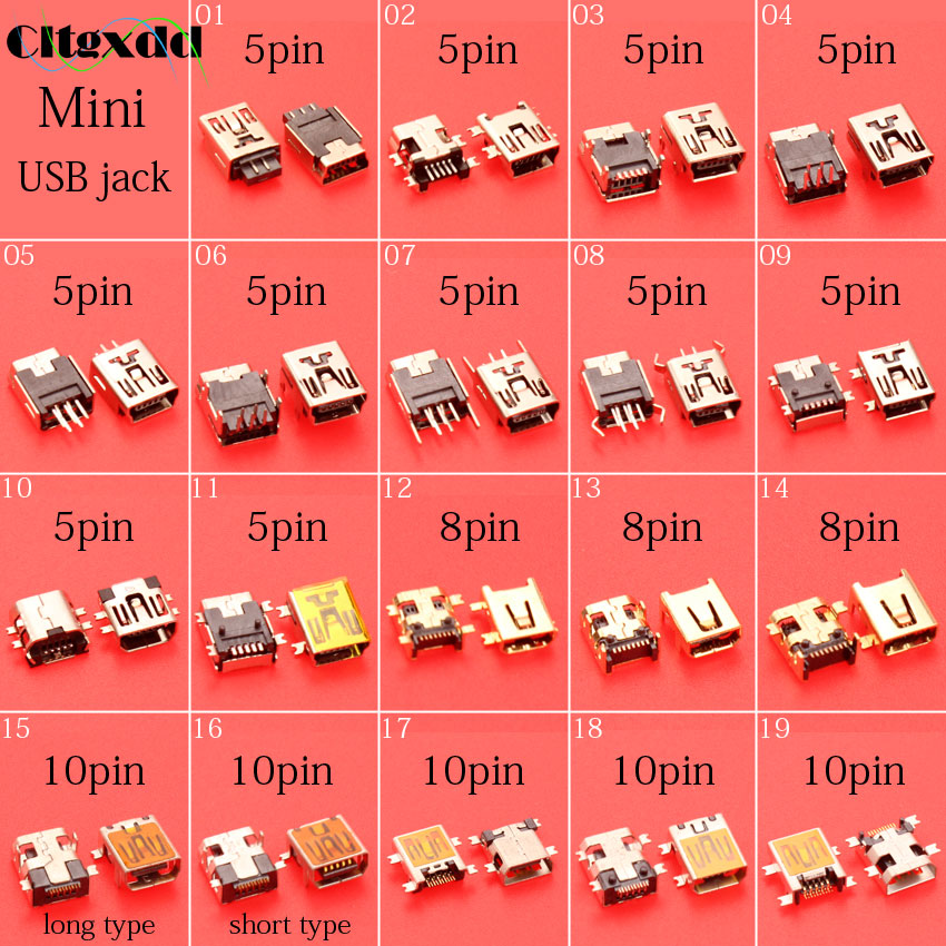 cltgxdd 5~10pcs Mini usb jack socket port connector,V3 port for MP3 MP4 Digital camera mobile phone etc 5pin or 8pin or 10pin 3m 10ft elbow spring coiled usb 2 0 male to mini usb 5pin data sync charger cable for mp3 mp4 car mobile phone and camera