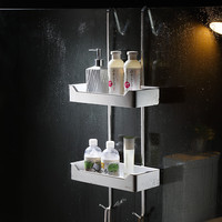 Free Punch 304 Stainless Steel Shower Basket Bath Shelf Glass Shower Storage Rack with Hook 2 Layers Bathroom Shelf Organizer