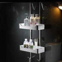 Free Punch 304 Stainless Steel Shower Basket Bath Shelf Glass Shower Storage Rack with Hook 2 Layers Bathroom Shelf Organizer