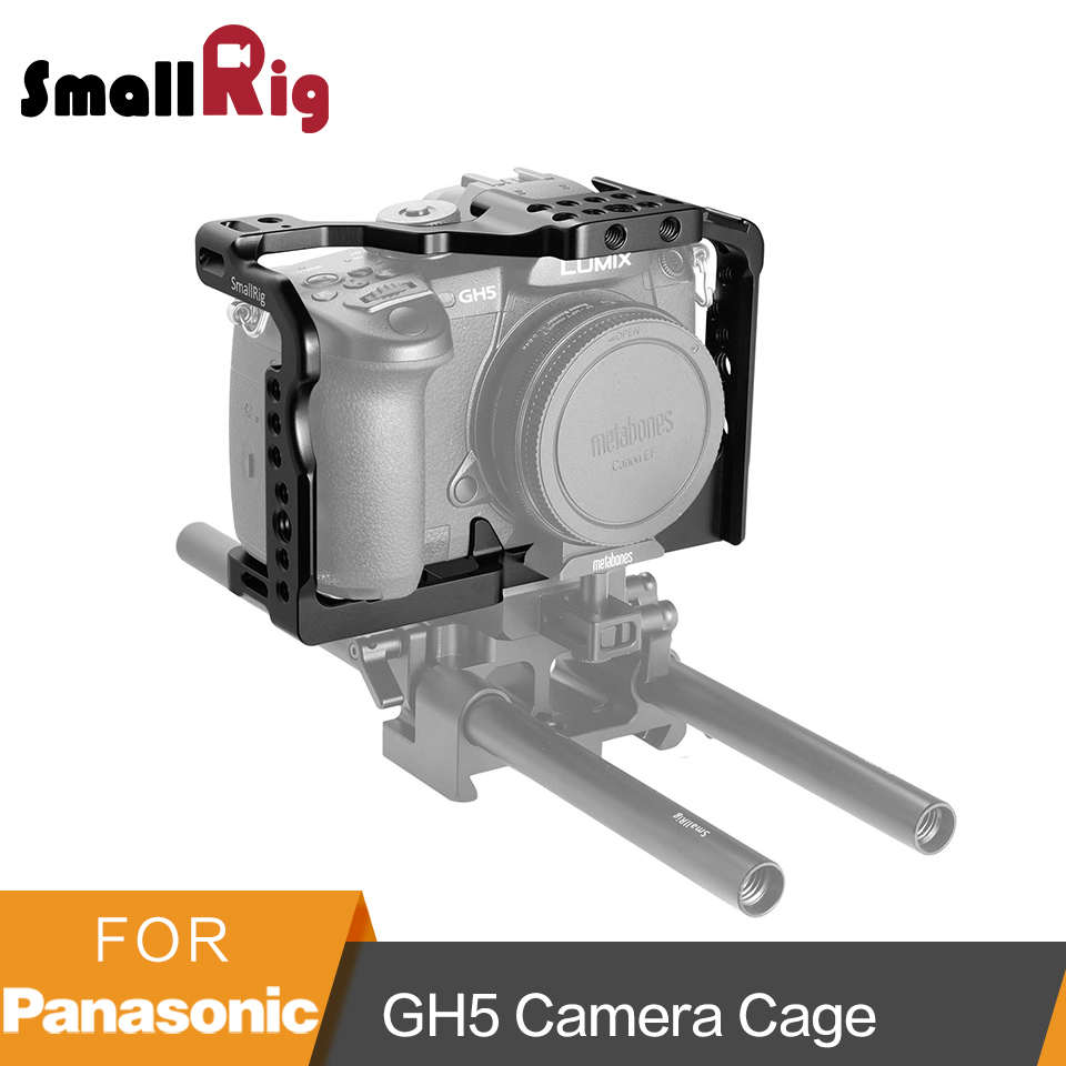 SmallRig For Panasonic Lumix GH5 /GH5S Camera Cage With 1/4' 3/8' Threads Holes + Cold Shoe Plate Mount NATO Rail Kit-2049