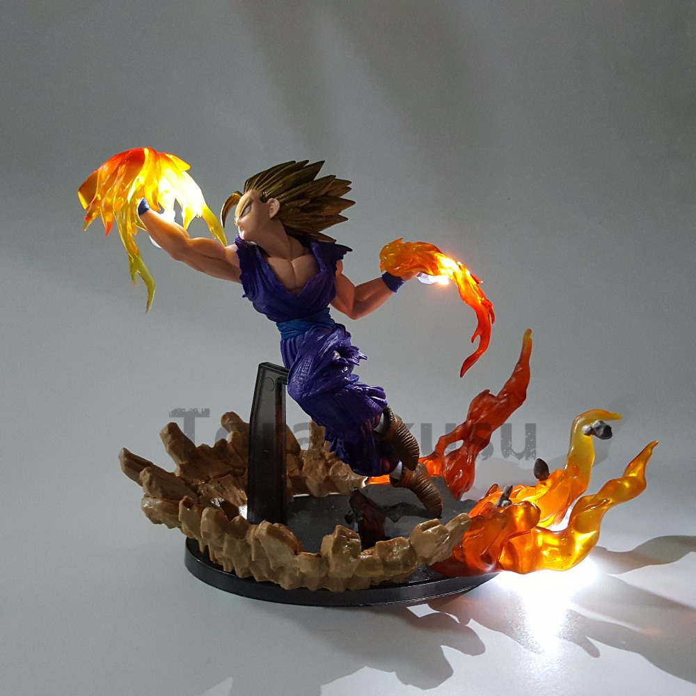 Dragon Ball Z Son Gohan Super Saiyan Fire Fist Led Light Dragon Ball Super Goku PVC <font><b>Action</b></font> Figures Anime Model Toys DIY Set