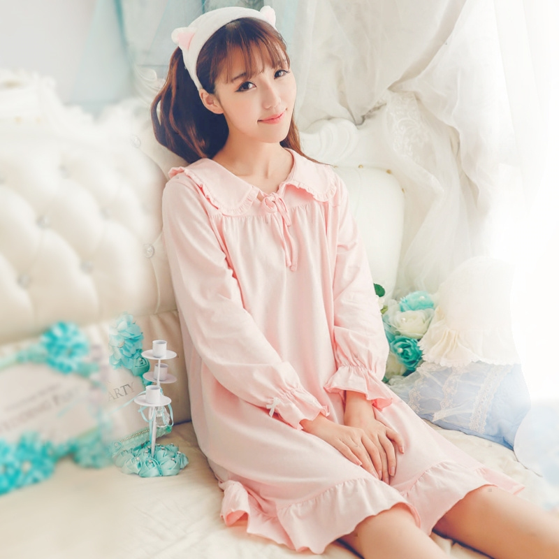Princess sweet lolita full sleeve   Nightgowns   Thin section   Sleepshirts   pure cotton sweet girl Home wear Suit QQ055