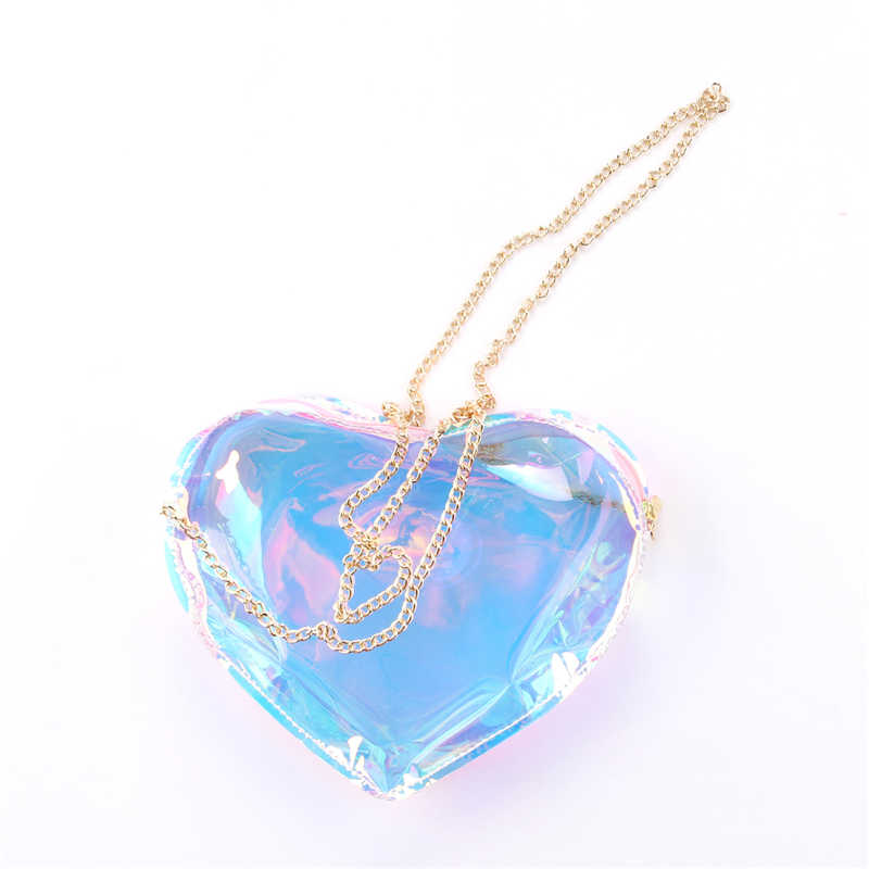 Kantung Transparan Femme Berbentuk Hati Jelly Shoulerbag Mewah Tas Wanita Colorful Laser Mini Hologram Clutch Fashion New Classy