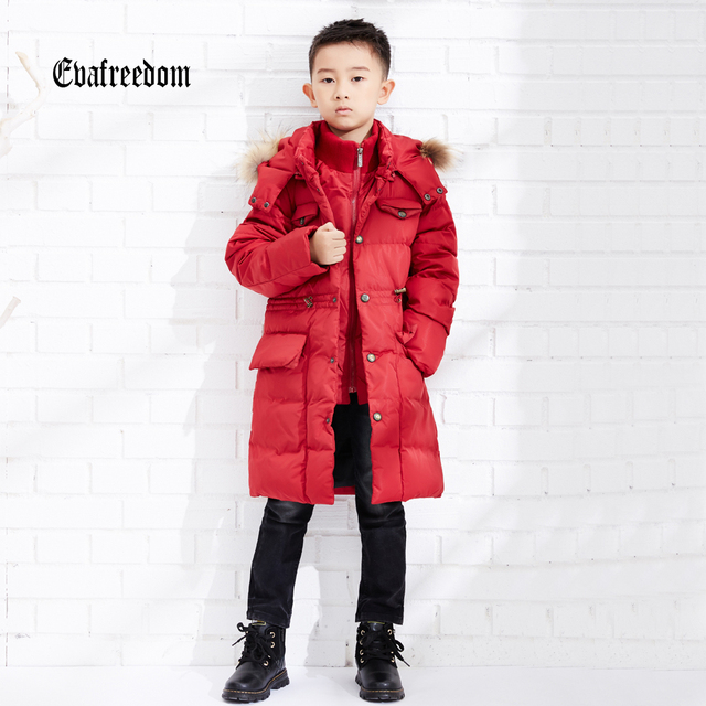 2016 Winter Jacket boy down coat child down jackets boys duck down long loose coats children Flower Hooded outerwear overcaot