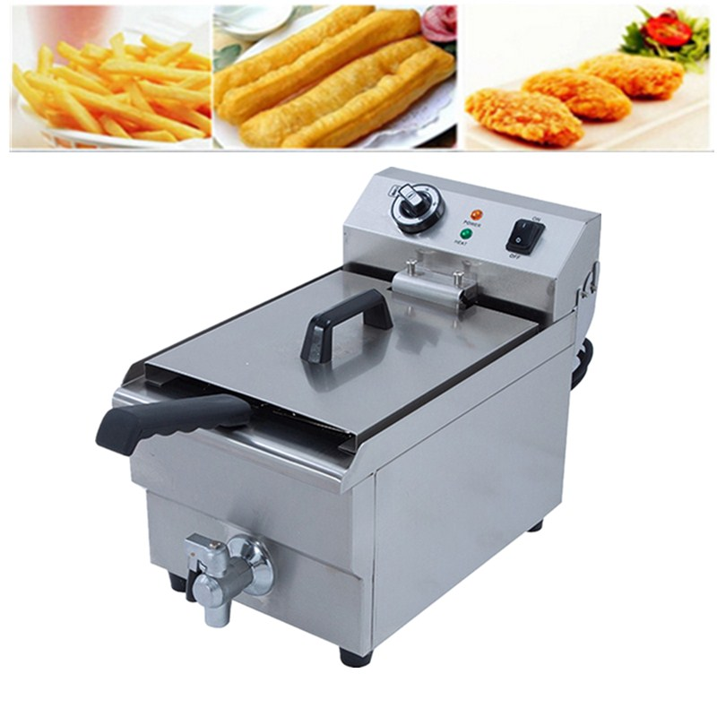 Brand New 3000W 10L Commercial Electric Deep Fryer Countertop Single Tank Stainless Steel With Basket ef171s commercial counter top chips potatohamburger egg fryer with basket