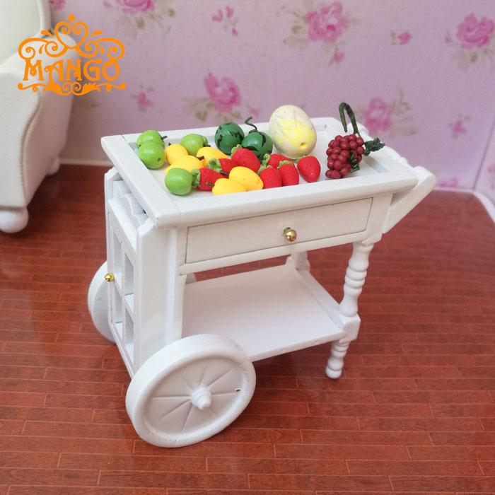 1:12 Dollhouse Miniature Furniture Kitchen White wooden push rotating dining car Free Shipping ...