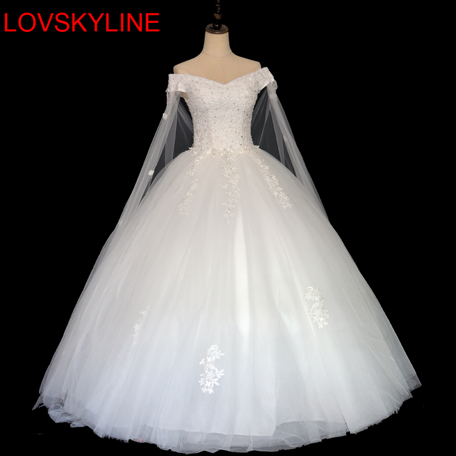 2018 Vestido De Noiva Custom Made Boat Neck Lace up Beaded Floor length cap sleeves Lace Wedding Dress