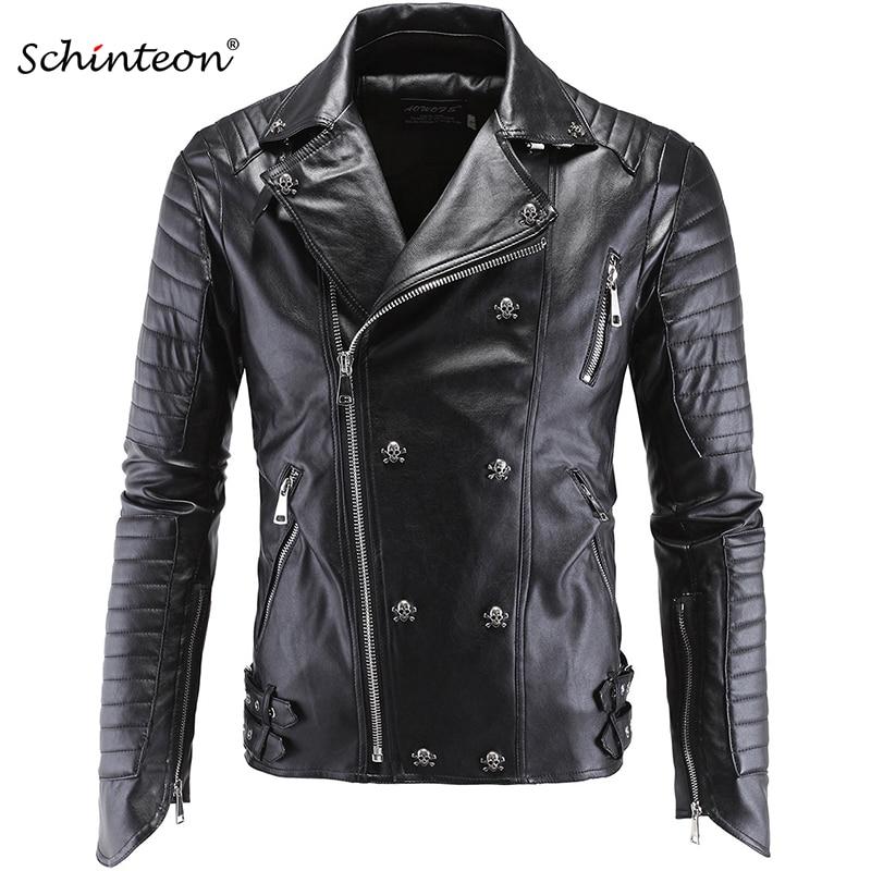 Męskie Plus rozmiar PU skórzana kurtka czaszka nit Studded Punk Rock mężczyźni motocykl czarny skórzany Biker płaszcz jesień znosić w Kurtki od Odzież męska na  Grupa 1