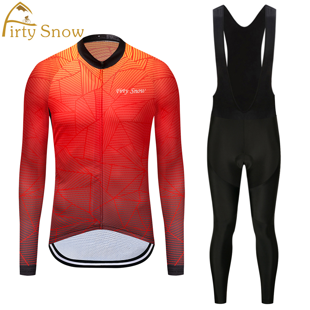 Firty Snow Cool Ropa Ciclismo Maillot trouser MTB Bike jersey Bib Pants Set Men Cycling clothing Suit Riding Long Sleeve Shirt