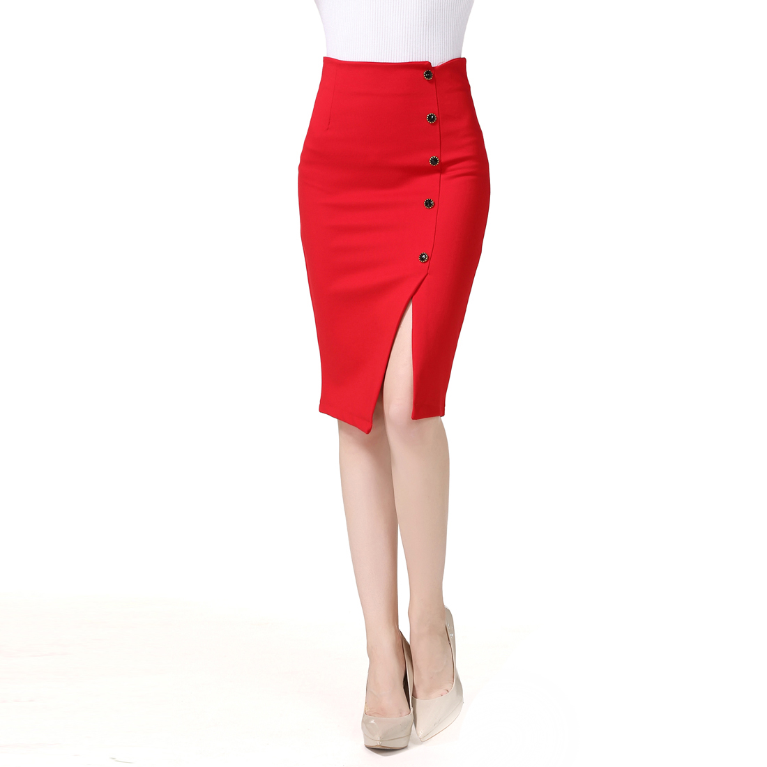 New Women/'s High Waisted Plain Midi Pencil Bodycon zipper Work Office Skirt