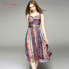 Fairy Dreams Women Sundress Color Print Strap Summer Dress Chiffon 2017 New Style Fashion Plus Size Clothing vestidos de festa