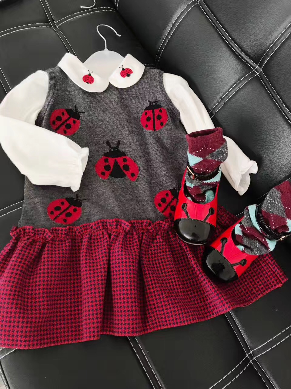 2017 New Design Girls Dress Vestido Infantil Ladybug Knitted Sleeveless Autumn Girls Dress Fashion Kids Dresses For Girls вечернее платье mermaid dress vestido noiva 2015 w006 elie saab evening dress