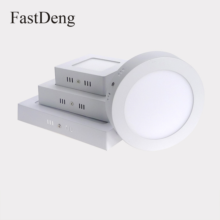 LED Surface Mounted Panel Ceiling Light 6W 12W 18W Round Square Down lights Lamp AC85-265V LED Recessed Lights indoor lighting цена