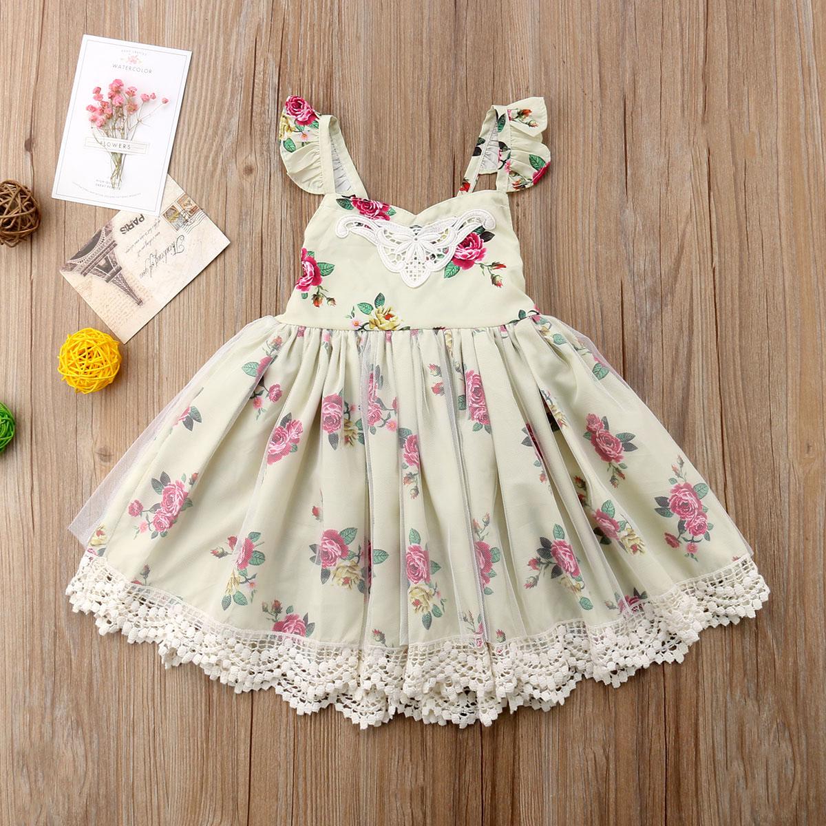 Toddler Baby Girls Off Shoulder Tutu Skirt Floral Party Princess Dress 6-24M V2