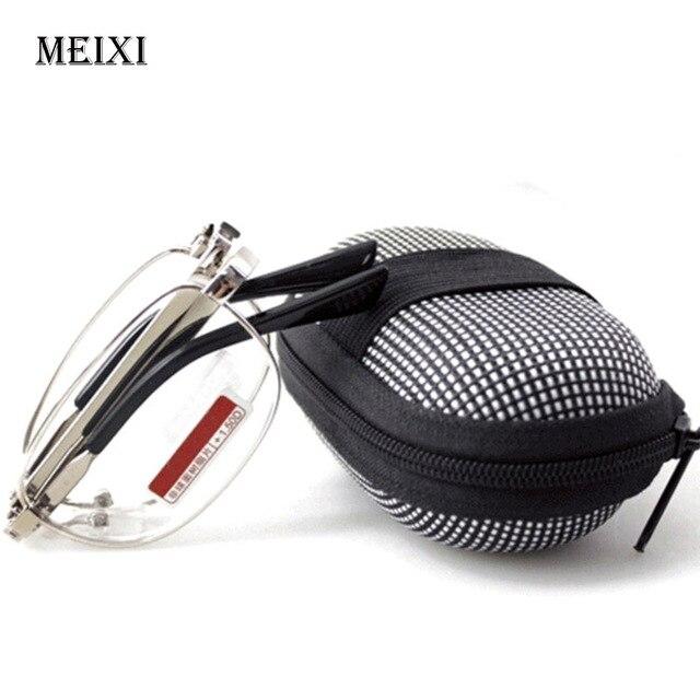Foldable 818 Men Women Reading Glasses zipper Case with Belt Clip Presbyopic Unisex Eyewear +1.0+1.5+2.0+2.5+3.0+3.5 +4.0
