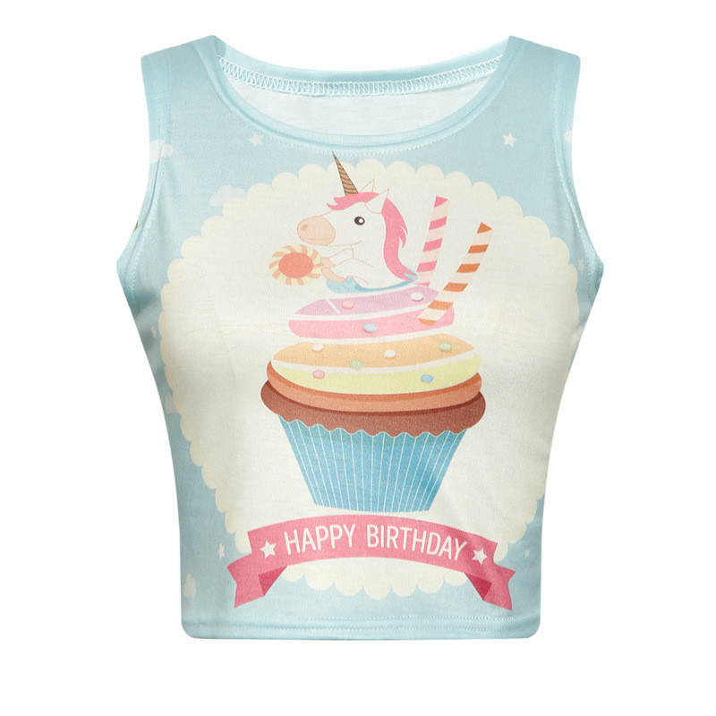 new kawaii short tank tops women happy birthday letter unicorn print fitness vest sleeveless crop tank top