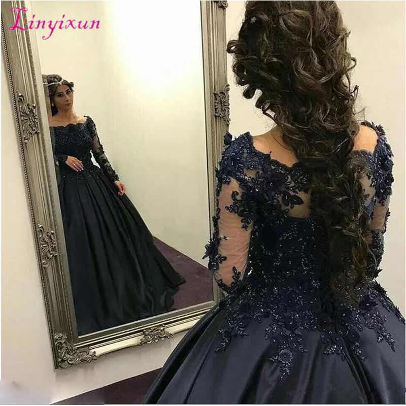 2019 Exquisite Navy Blue Ball Gown Prom Dresses Long Sleeves Beaded Appliques Evening Gowns Custom Made