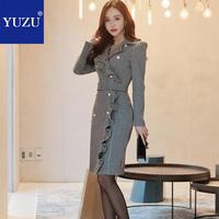 Women 2018 Office Business Dress Clothes Ruffles Pearls Double breasted Plaid Package Hip With Belt Knee Length Blazer Dress