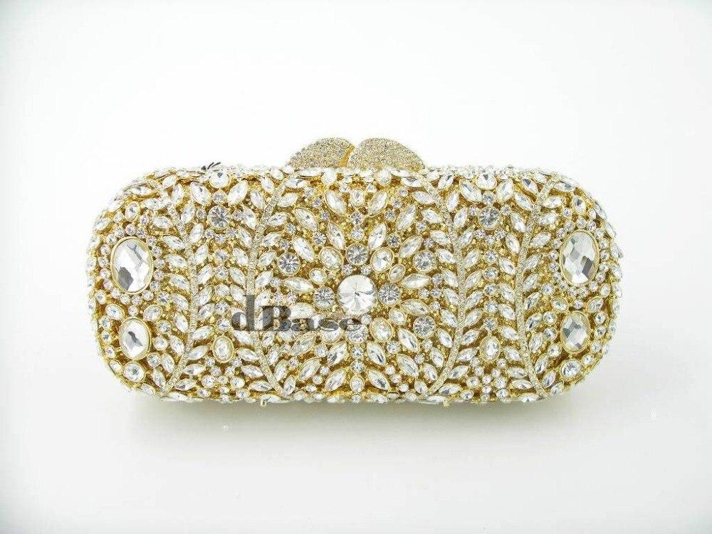 ФОТО 8278G crystal Lady fashion Wedding Bridal hollow golden Metal Evening purse clutch bag handbag case box